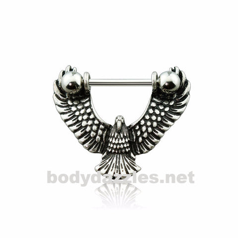 Surgical Steel Burnish Eagle Nipple Shield Nipple Bar Nipple Barbell 14ga Surgical Steel