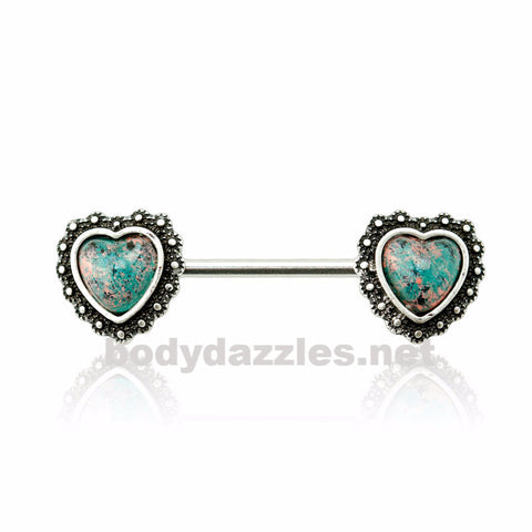 Synthetic Opal Antique Heart Nipple Bar Nipple Barbell Nipple Barbell 14ga Surgical Steel