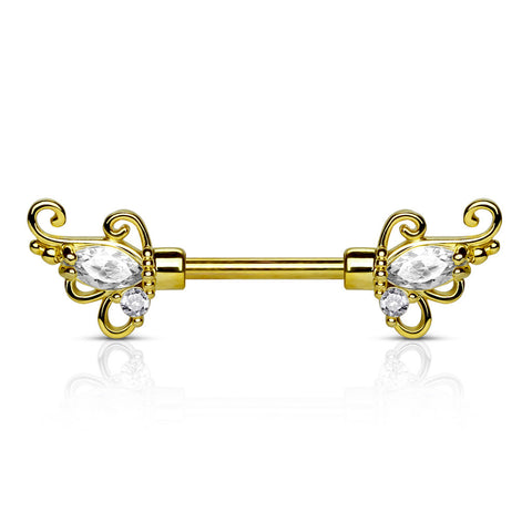 Pair of Gold CZ Set Floral Filigree Ends 316L Surgical Steel Nipple Barbells 14ga - BodyDazzle - 1