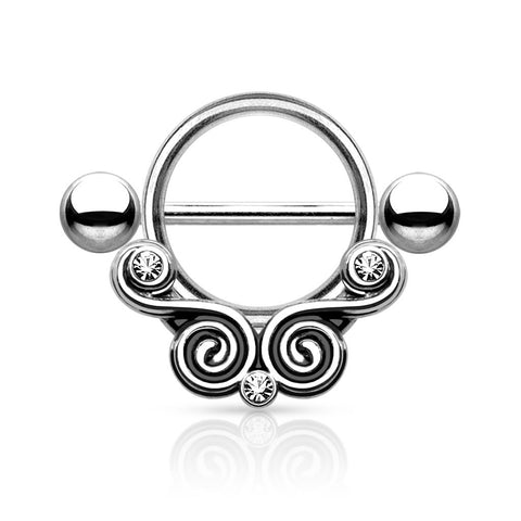 Lace Swirls Nipple Barbell with Clear Gems  Surgical Steel Nipple Shield 14ga - BodyDazzle