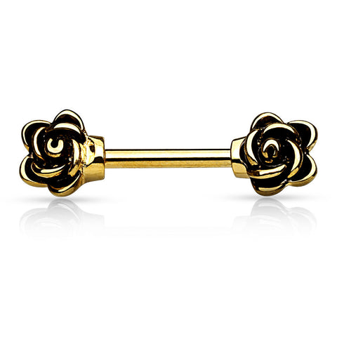 Rose Nipple Rings Gold Nipple Barbell Surgical Stainless Steel 14ga Body Jewelry - BodyDazzle