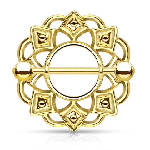 Gold Tribal Shield Nipple Ring with 316L Surgical Steel Barbell 14ga Nipple Barbell - BodyDazzle