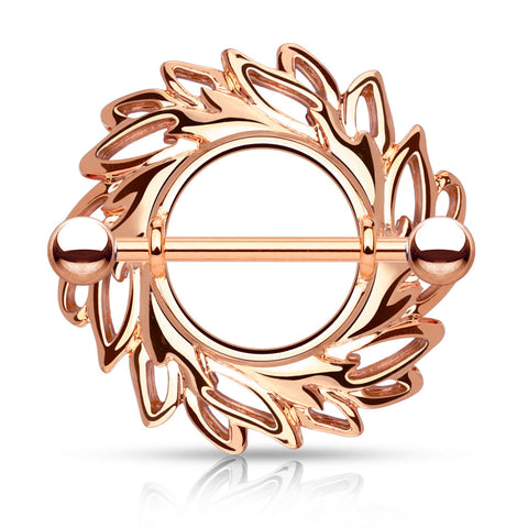 Rose Gold Swirling Leaves Tribal Nipple Shield with 316L Surgical Steel Barbell 14ga Nipple Barbell - BodyDazzle