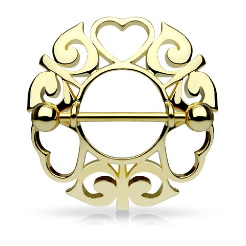 Gold Tribal Hearts Hollow Nipple Shield with 316L Surgical Steel Barbell 14ga Nipple Barbell - BodyDazzle