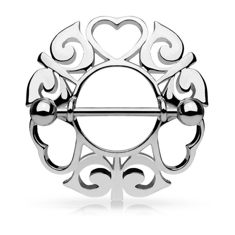 Silver Tribal Hearts Hollow Nipple Shield with 316L Surgical Steel Barbell 14ga Nipple Barbell - BodyDazzle
