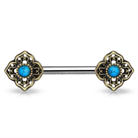 Turquoise Centered Tribal Flower Ends Single 316L Surgical Steel Nipple Barbell Antique Gold - BodyDazzle - 1