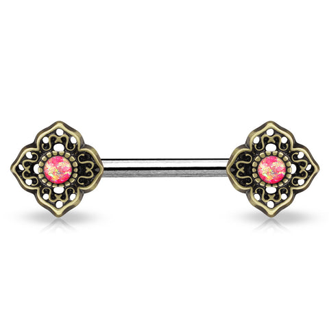 Glitter Opal Tribal Pink Flower Ends Silver Single Surgical Steel Nipple Barbells - BodyDazzle - 1