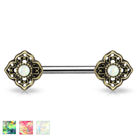 Glitter Opal Tribal Green Flower Ends Single Silver Surgical Steel Nipple Barbells 14ga - BodyDazzle - 1