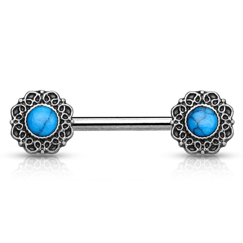 Turquoise Centered Nipple Barbell Tribal Single Heart Body Jewelry Nipple Rings 14ga - BodyDazzle