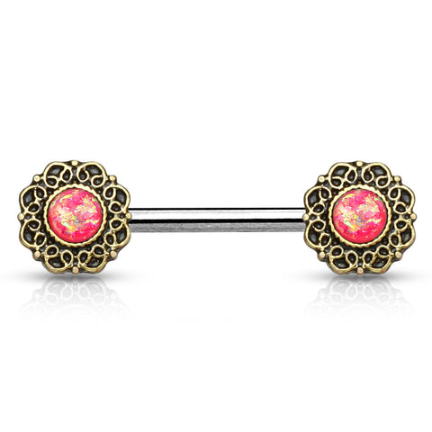 Pink Opal Glitter Tribal Heart Filigree Nipple Ring Single Surgical Steel Nipple Barbells 14ga - BodyDazzle