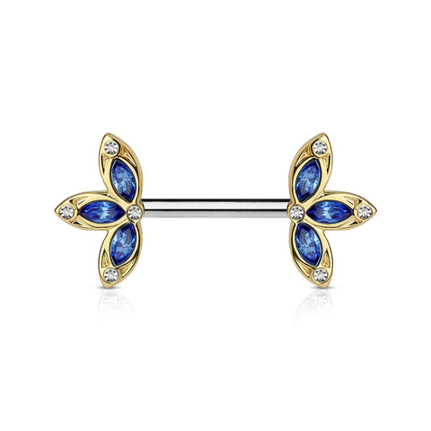 Single Crystal Gold and Blue Three Petal Flower Ends 316L Surgical Steel Nipple Barbells 14ga - BodyDazzle