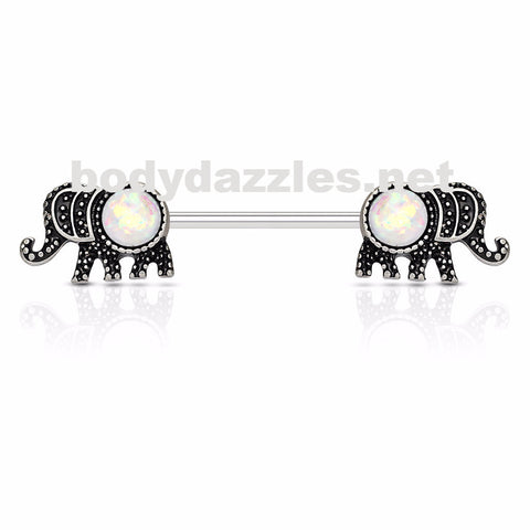 Elephant White Opal Glitter Set Nipple Rings 316L Surgical Steel Nipple Barbells