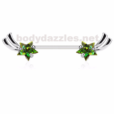 Shooting Star with Green Opal Glitter Set Nipple Rings 316L Surgical Steel Nipple Barbells