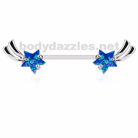 Shooting Star with Blue Opal Glitter Set Nipple Rings 316L Surgical Steel Nipple Barbells