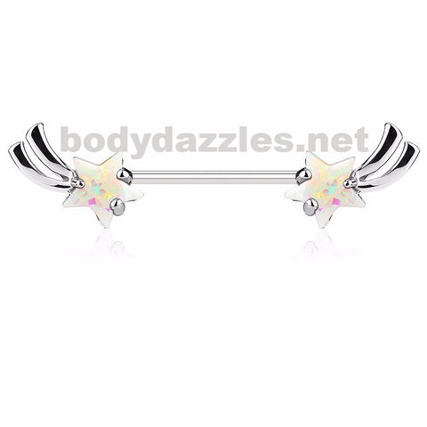Silver Shooting Star with White Opal Glitter Set Nipple Rings 316L Surgical Steel Nipple Barbells