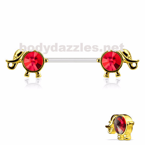 Round Gold and Red Gemmed Elephant Nipple Ring 14ga 316L Surgical Steel Nipple Barbells