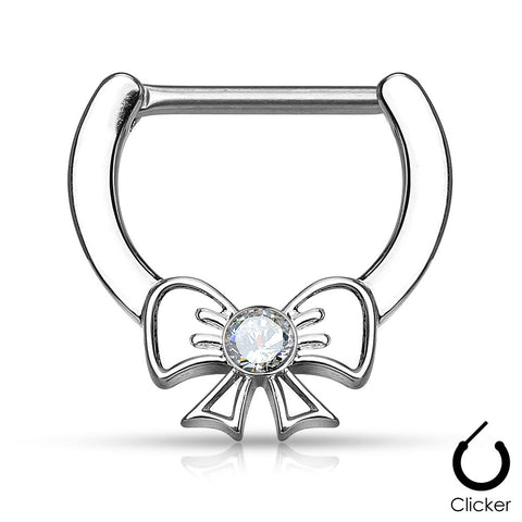 Crystal Bow Nipple Clickers Silver Centered Ribbon Surgical Steel Nipple Bars 14ga - BodyDazzle - 1