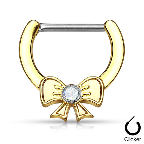 Crystal Bow Nipple Clickers Gold Centered Ribbon Surgical Steel Nipple Bars 14ga - BodyDazzle - 1