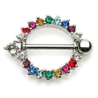 Rainbow Gemmed Round Nipple Shield Body Jewelry Nipple Rings Surgical Steel 14ga - BodyDazzle