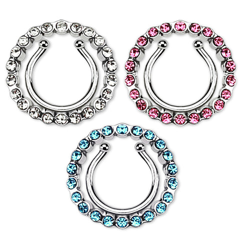 Single Multi Paved Gem Clip On Nipple Ring Body Jewelry Nipple Jewelry Fake Piercing - BodyDazzle