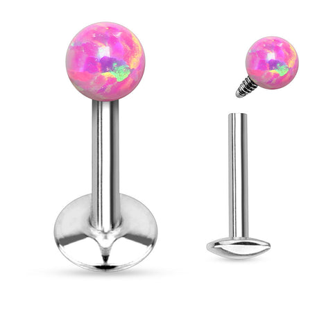 Fire Opal Pink Labret Ring Cartilage Tragus Body Jewelry 16 ga 316L Surgical Steel Body Jewelry - BodyDazzle - 1