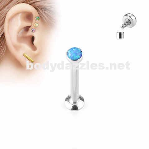 Blue Opal  Flat Top Internally Threaded Surgical Steel Labret Stud for Lip, Chin, Ear Cartilage Piercings - BodyDazzle