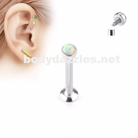 White Opal  Flat Top Internally Threaded Surgical Steel Labret Stud for Lip, Chin, Ear Cartilage Piercings - BodyDazzle