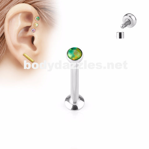 Green Opal  Flat Top Internally Threaded Surgical Steel Labret Stud for Lip, Chin, Ear Cartilage Piercings - BodyDazzle