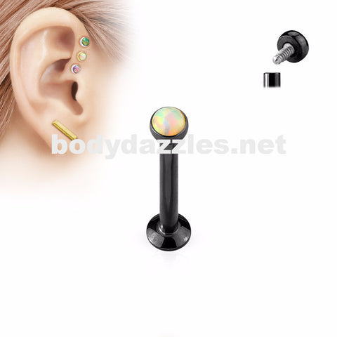 Black and White Opal  Flat Top Internally Threaded Surgical Steel Labret Stud for Lip, Chin, Ear Cartilage Piercings - BodyDazzle