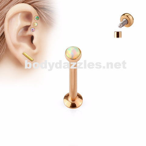 Rose Gold and White Opal  Flat Top Internally Threaded Surgical Steel Labret Stud for Lip, Chin, Ear Cartilage Piercings - BodyDazzle