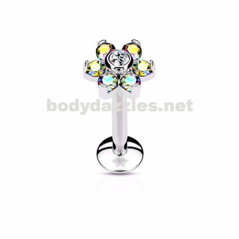Flower Top Labret/Monroe/Cartilage Stud316L Surgical Steel Internally Threaded 6-Gem