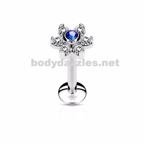 Blue Flower Top Labret/Monroe/Cartilage Stud316L Surgical Steel Internally Threaded 6-Gem