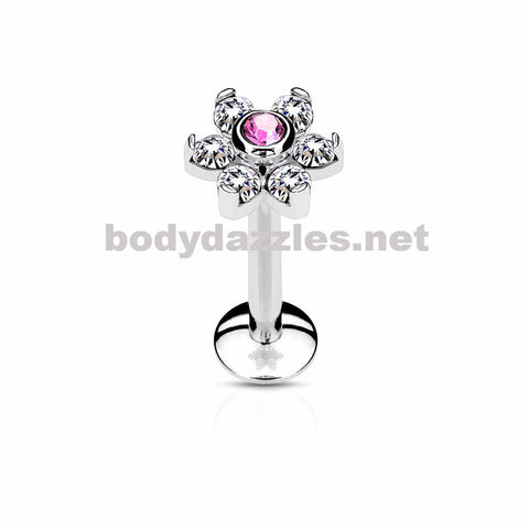 Pink Flower Top Labret/Monroe/Cartilage Stud316L Surgical Steel Internally Threaded 6-Gem