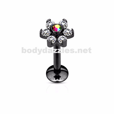 Black Flower Top Labret/Monroe/Cartilage Stud316L Surgical Steel Internally Threaded 6-Gem - BodyDazzles
