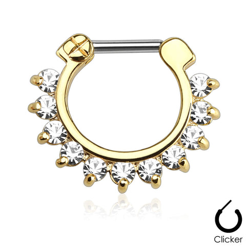 Septum Clicker Gold Single Line Pronged Gems  Surgical Steel Bar Nose Jewelry Body Jewelry - BodyDazzle