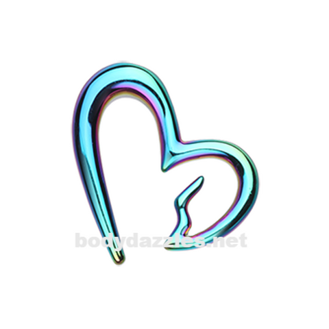 Pair of Colorline Heartbreaker Ear Gauge Hanging Taper Surgical Steel - BodyDazzle