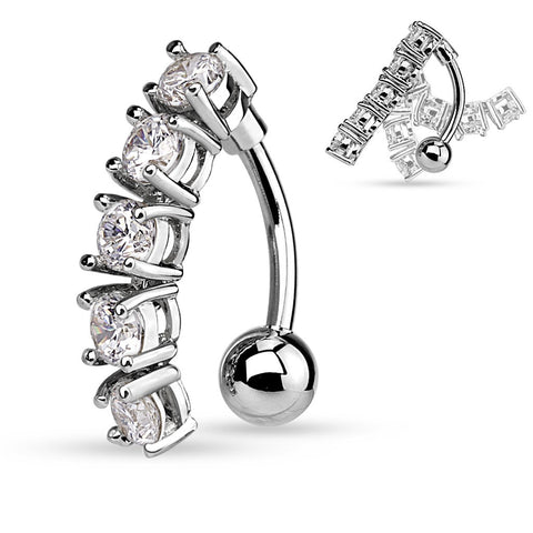Silver Vertical Drop Cubic Zarconia 14ga Navel Ring 316L Surgical Steel Belly Button Rings - BodyDazzle
