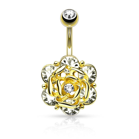 Gold Flower with Gems Belly Ring 14ga 316L Surgical Steel Body Jewelry Navel Ring - BodyDazzle - 1
