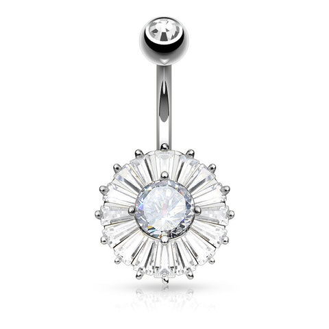 Cubic Zirconia Princess Cut Belly Ring Navel Rings Surgical Steel Body Jewelry - BodyDazzle