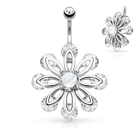Petal Flower with Round CZ Center 316L Surgical Steel Belly Button 14ga Navel Rings Body Jewelry - BodyDazzle