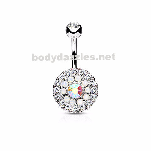 Clear Triple Tiered Crystal and Opalite 316L Surgical Steel Navel Ring 14ga