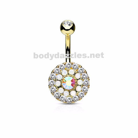 Gold Triple Tiered Crystal and Opalite 316L Surgical Steel Navel Ring 14ga