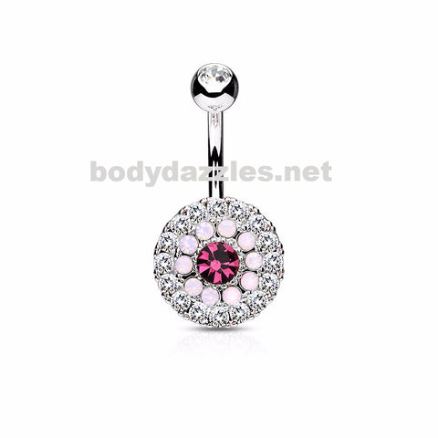 Pink Triple Tiered Crystal and Opalite 316L Surgical Steel Navel Ring 14ga