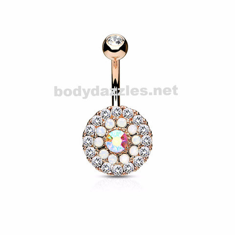 Rose Gold Triple Tiered Crystal and Opalite 316L Surgical Steel Navel Ring 14ga