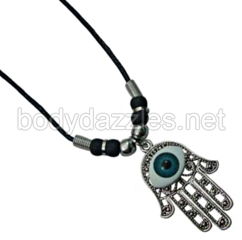 Hemsa Hand Eye Necklace with Black Beads Boho On Cord 18 in. Great Gift