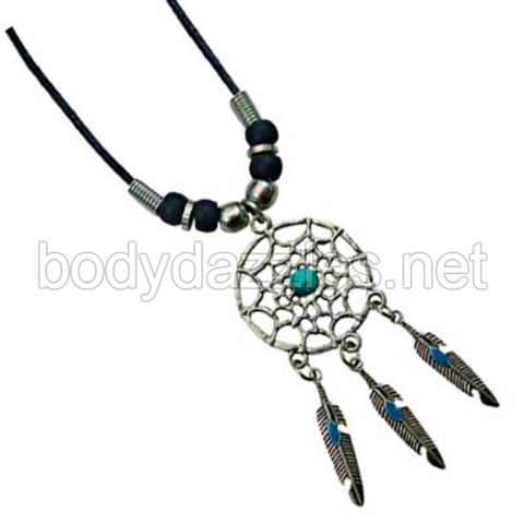 Dream Catcher Necklace with Black Beads On Cord 18 in.
