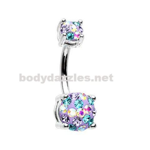 Purple Multi Sprinkle Dot Gem Prong Sparkle Belly Button Ring 14ga