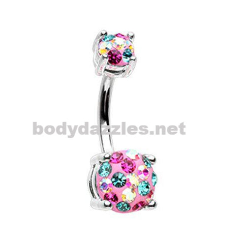 Miami Multi Sprinkle Dot Gem Prong Sparkle Belly Button Ring 14ga