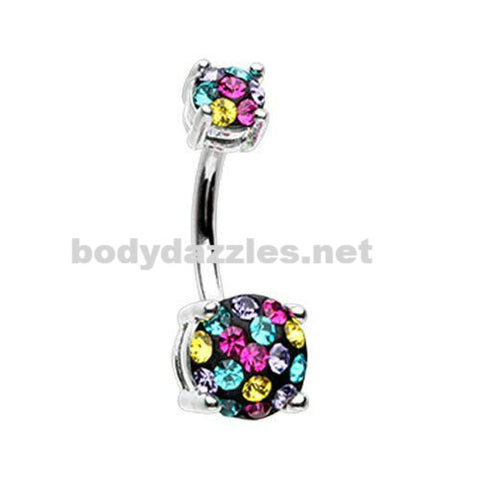 Silver Multi Sprinkle Dot Gem Prong Sparkle Belly Button Ring 14ga