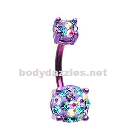 Purple Color Multi Sprinkle Dot Gem Prong Sparkle Belly Button Ring 14ga